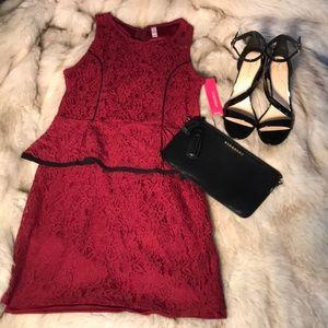 NWT xhilaration Cranberry & Black Lace Dress Sz L